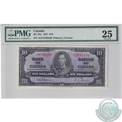 BC-24a 1937 Bank of Canada $10, Osborne-Towers S/N: A/D0705258, PMG Certified VF-25.