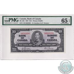 BC-24b 1937 Bank of Canada $10, Gordon-Towers, S/N: U/D6583291, PMG Certified GEM UNC-65 EPQ  Well c