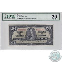 BC-25a 1937 Bank of Canada $20, Osborne-Towers S/N: A/E0272733, PMG Certified VF-20.0