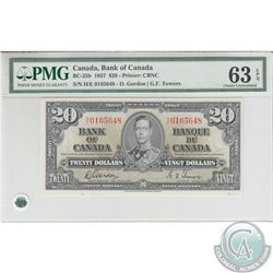 BC-25b 1937 Bank of Canada $20, Gordon-Towers, S/N: H/E0165648. PMG CUNC-63 EPQ