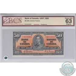 BC-26b 1937 Bank of Canada $50, Changeover, Gordon-Towers, S/N: B/H4010993. BCS Certified Choice UNC