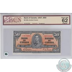 BC-26b 1937 Bank of Canada $50, Gordon-Towers, S/N: B/H4010992. BCS CUNC-62 Original  A bright Vibra
