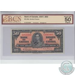 BC-26b 1937 Bank of Canada Changeover $50, Gordon-Towers, S/N: B/H2545969. BCS Certified AU-50 origi