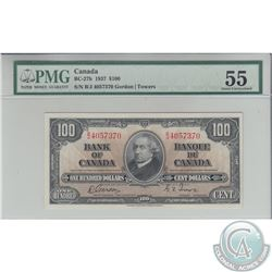 BC-27b 1937 Bank of Canada $100, Gordon-Towers, S/N: B/J4057370, PMG AU-55.
