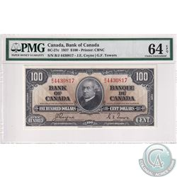 BC-27c 1937 Bank of Canada $100, Coyne-Towers, S/N: B/J4430817, PMG Certified CUNC-64 EPQ  Bright vi