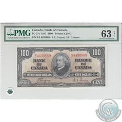BC-27c. 1937 Bank of Canada $100, Coyne-Towers, S/N: B/J4430869. PMG CUNC-63 EPQ!