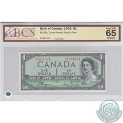 BC-29a 1954 Bank of Canada Devil's Face $1, Coyne-Towers, S/N: B/A5274324. BCS Gem UNC-65 Original