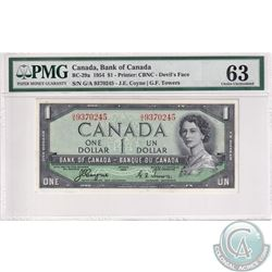 BC-29a 1954 Bank of Canada Devil's Face $1, Coyne-Towers, S/N: G/A9370245. PMG Certified CUNC-63.
