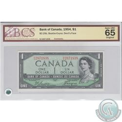 BC-29b 1954 Bank of Canada Devil's Face $1, Beattie-Coyne, S/N: N/A2871838. BCS Gem UNC-65 Original