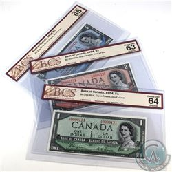 1954 Bank of Canada Devil's Face $1, $2, & $5 Denominations with matching Low digit Serial Numbers.
