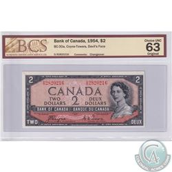BC-30a 1954 Bank of Canada Devil's Face $2, Coyne-Towers, S/N: D/B2820216. BCS certified CUNC-63 Ori