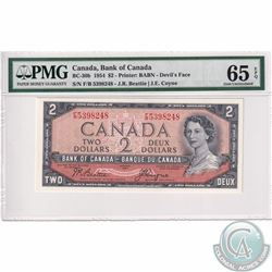 BC-30b 1954 Bank of Canada Devil's Face $2, Beattie-Coyne S/N: F/B5398248. PMG Certified Gem UNC-65