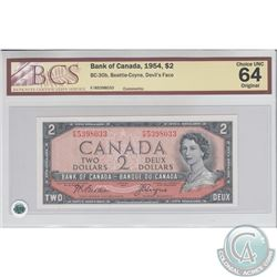 BC-30b 1954 Bank of Canada Devil's Face $2, Beattie-Coyne, S/N: F/B5398033. BCS CUNC-64 Original.