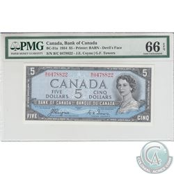 BC-31a 1954 Bank of Canada Devil's Face $5, Coyne-Towers, S/N: B/C0478822 PMG Certified GEM UNC-66 E