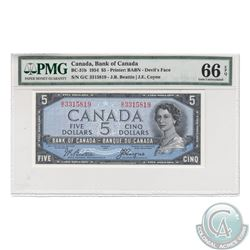 BC-31b 1954 Bank of Canada Devil's Face $5, Beattie-Coyne, S/N: G/C3315819. PMG Gem UNC-66 EPQ  Tied