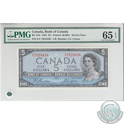 BC-31b 1954 Bank of Canada Devil's Face $5, Beattie-Coyne, S/N: E/C7624436 Gem UNC-65 EPQ