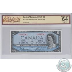 BC-31b 1954 Bank of Canada Devil's Face $5, Beattie-Coyne, S/N: G/C3315761. BCS CUNC-64 Original.