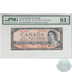 BC-34a 1954 Bank of Canada Devil's Face $50, Coyne-Towers, S/N: A/H0774208. PMG Certified CUNC-64 EP