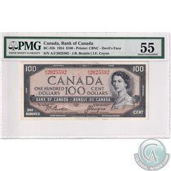 BC-35b 1954 Bank of Canada Devil's Face $100, Beattie-Coyne S/N: A/J2025592. PMG Certified AU-55.