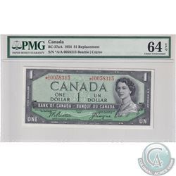 BC-37aA 1954 Bank of Canada Replacement $1, Beattie-Coyne S/N: *A/A0058315. PMG Certified CUNC-64 EP