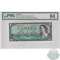 BC-37bA 1954 Bank of Canada Replacement $1, Beattie-Rasminsky S/N: *D/O0544576, PMG Certified CUNC-6
