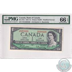 BC-37b-I 1954 Bank of Canada Modified $1, Beattie-Rasminsky S/N: T/M8203220, PMG Certified GEM UNC-6