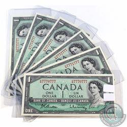 BC-37b-i-N1-ii 1954 Bank of Canada $1, 2-digit Radar matching Set of 6 Notes. Beattie-Rasminsky S/N: