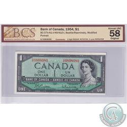 BC-37b-N1-ii-N9-N10-I 1954 Bank of Canada Modified $1, Beattie-Rasminsky S/N: G/O0808080, BCS certif