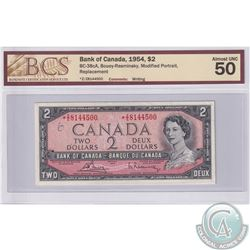 BC-38cA 1954 Bank of Canada Replacement $2, Bouey-Rasminsky S/N: *Z/Z8144500. BCS AU-50  Writing. A