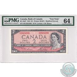BC-38dT 1954 Bank of Canada Test $2, Lawson-Bouey, S/N: S/R2824288, PMG Certified CUNC-64