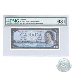 BC-39bA 1954 Bank of Canada Replacement $5, Beattie-Rasminsky, S/N: *V/S0364369. PMG CUNC-63 EPQ