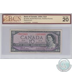 BC-40bA 1954 Bank of Canada Replacement $10, Beattie-Rasminsky S/N: *U/T0234928, BCS certified VF-20