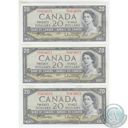 BC-41b 1954 Bank of Canada 3 in Sequence $20, Beattie-Rasminsky, S/N: M/E6454076/77,78. All notes ar