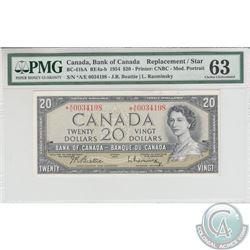 BC-41bA 1954 Bank of Canada Replacement $20, Beattie-Rasminsky S/N: *A/E0034198, PMG Certified CUNC-