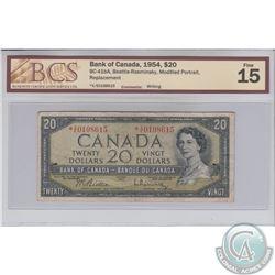 BC-41bA 1954 Bank of Canada Replacement $20, Beattie-Rasminsky, S/N: *V/E0198615. BCS F-15 Writing.
