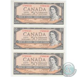 BC-42b 1954 Bank of Canada 3 in Sequence $50, Beattie-Rasminsky, S/N: B/H7484144/45/46. All notes ar