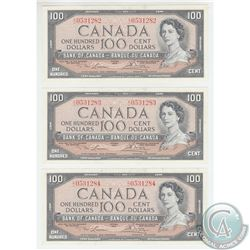 BC-43c 1954 Bank of Canada 3 in Sequence $100, Lawson-Bouey, S/N: C/J0531282/83/84. All notes are AU