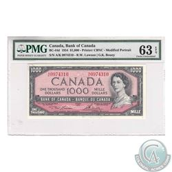 BC-44d 1954 Bank of Canada $1000, Lawson-Bouey, S/N: A/K0974310. PMG CUNC-63 EPQ