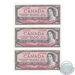 BC-44d. Group lot of three in Sequence 1954 Bank of Canada Modified Portrait $1000, Lawson-Bouey, S/