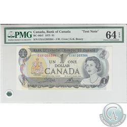 BC-46bT 1973 Bank of Canada Test Note $1, Crow-Bouey, S/N: EXA1203384. PMG CUNC-64 EPQ