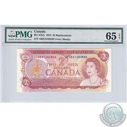 BC-47bA 1974 Bank of Canada Replacement $2, Crow-Bouey, S/N: ABX1242836, PMG Certified GEM UNC-65 EP