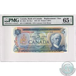 BC-48bA 1972 Bank of Canada Replacement $5, Lawson-Bouey, S/N: *CV3001045, PMG Certified GEM UNC-65