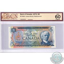 BC-48bA 1972 Bank of Canada Replacement $5, Lawson-Bouey, S/N: *CS0345619. BCS UNC-60 Original
