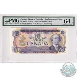 BC-49bA 1971 Bank of Canada Replacement $10, Bouey-Rasminsky S/N: *DK3207854, PMG Certified CUNC-64