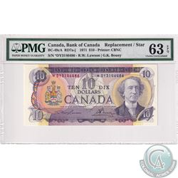 BC-49cA 1971 Bank of Canada Replacement $10, Lawson-Bouey, S/N: *DY3146486, PMG Certified CUNC-63 EP