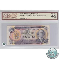 BC-49cA-i 1971 Bank of Canada Replacement $10, Lawson-Bouey, S/N: EDX0613704, BCS EF-45.