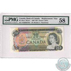 Bc-50aA 1969 Bank of Canada $20, Beattie-Rasminksy, Replacement. S/N: *EM2964792. PMG AU-58.