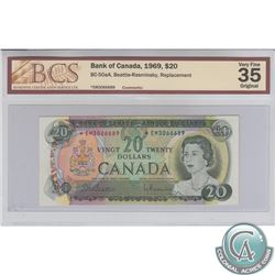 BC-50aA 1969 Bank of Canada Replacement $20, Beattie-Rasminsky, S/N: *EM3066689, BCS VF-35, Original