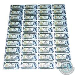 Uncut Sheet of 1973 $1.00 notes, 4x10 Format, ECP Prefix.