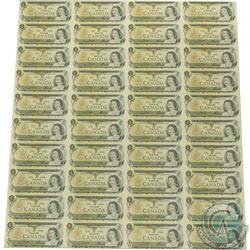 Uncut Sheet of 1973 $1.00 notes, 4x10 Format, Scarce ECW Prefix.